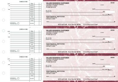 Burgundy Marble Accounts Payable Business Checks | BU3-BMA01-DED
