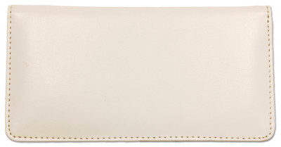 White Smooth Leather Checkbook Cover | CLP-WHT01
