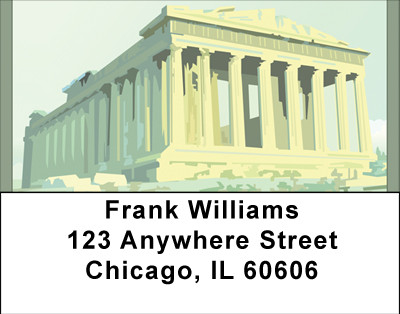 Pantheon Ruins On Acropoli Address Labels | LBBBD-22