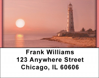 Lighthouses At Dusk Address Labels | LBQBP-43