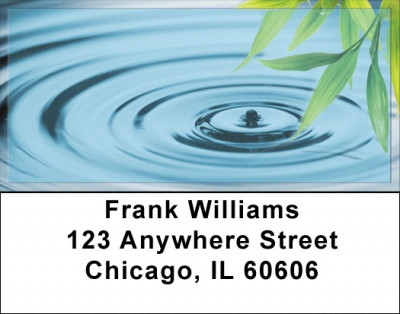 Bamboo & Water Droplet Address Labels | LBZNAT-33
