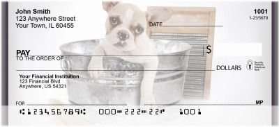 Frenchie Bathtime Personal Checks | QBR-33