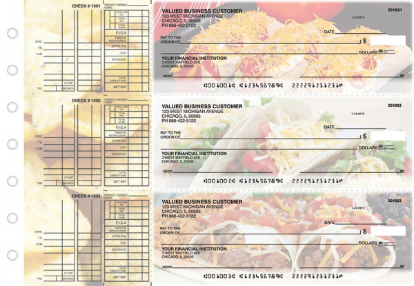 Mexican Cuisine Multi Purpose Designer Business Checks  | BU3-CDS07-DEP