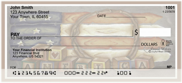 Americana Picket Flag Personal Checks | JHS-08
