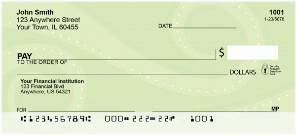 Contemporary Green Swirls Personal Checks | QBR-07