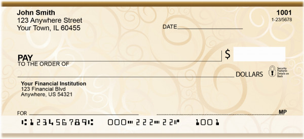 Golden Swirls Personal Checks | QBR-61