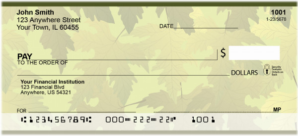 Leaves Of Gold Personal Checks | QBS-17