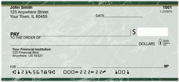 Green Marble Personal Checks | VAL-018