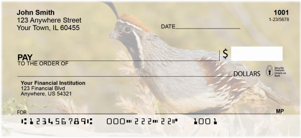 Quail Closeups Personal Checks | ZANJ-60