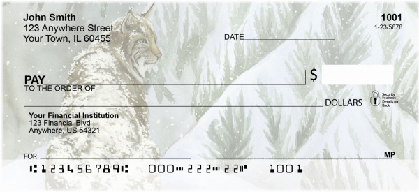 Big Cat In Winter Personal Checks | ZANK-67