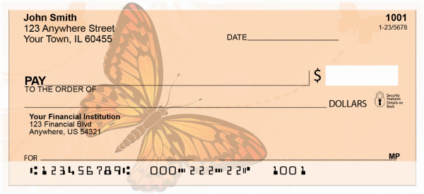 Filigree With Colorful Monarch Butterfly Personal Checks | ZANK-70