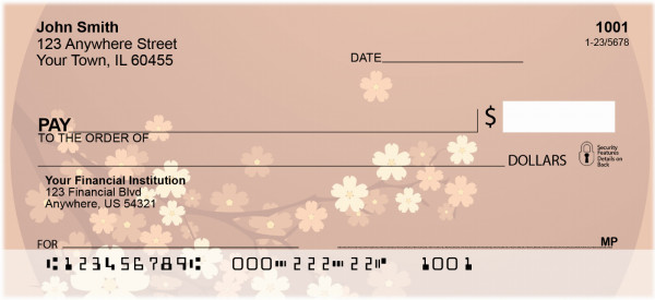 Oriental Inspired Cherry Branch Personal Checks | ZFLO-59