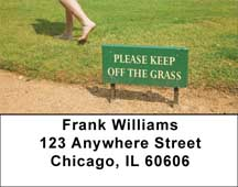 Please Keep Off The Grass Address Labels