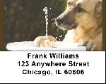 Thirsty German Shepherd Address Labels
