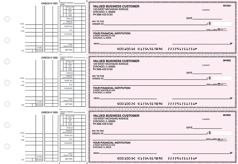 Pink Safety Multi Purpose Business Checks