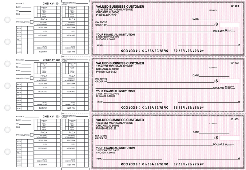 Pink Safety Payroll Business Checks
