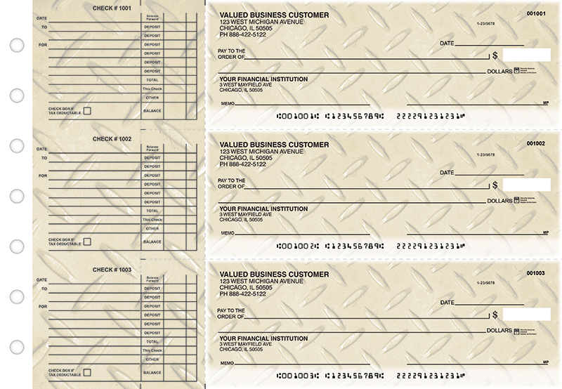 Gold Diamond Plate Accounts Payable Business Checks
